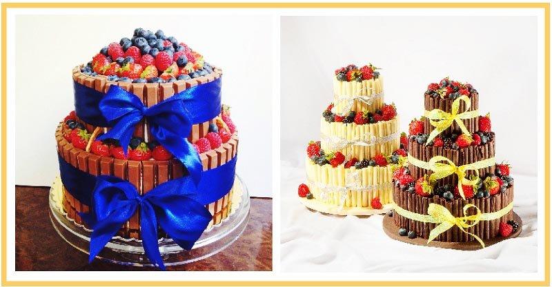 фото вариантов оформления фруктового торта: оформление тортов на юбилей №3