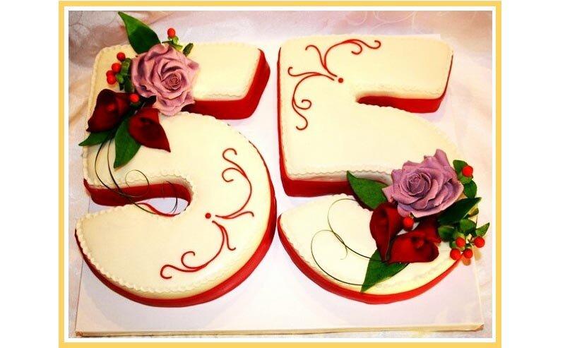 фото вариантов оформления торта - цифры: оформление тортов на юбилей