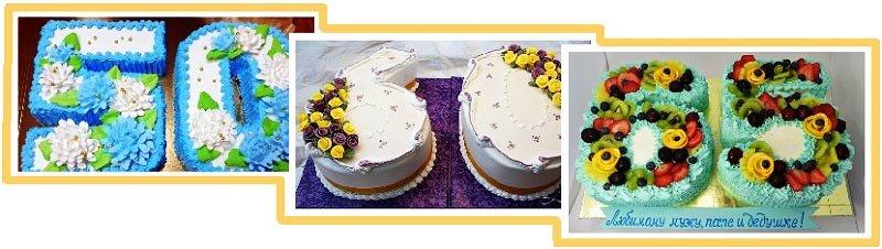 фото вариантов оформления торта - цифры: оформление тортов на юбилей №2