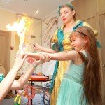шоу мыльных пузырей с элементами огня